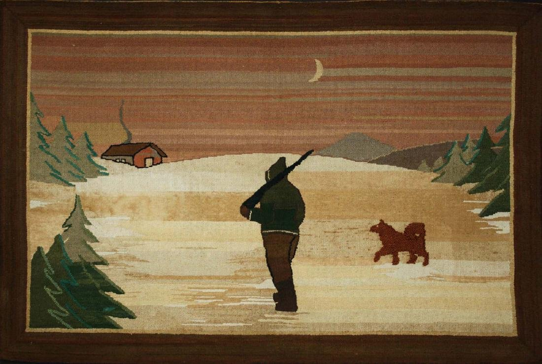 early 20th c Grenfell Mission, Labrador hooked rug