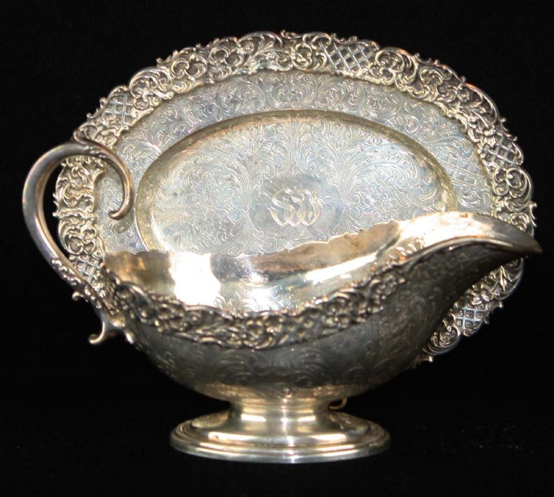 ornate late Victorian sterling silver  gravy boat with - 3