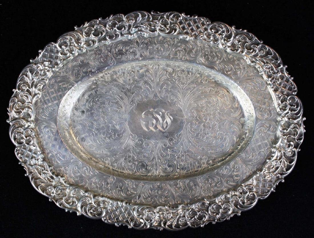 ornate late Victorian sterling silver  gravy boat with - 4