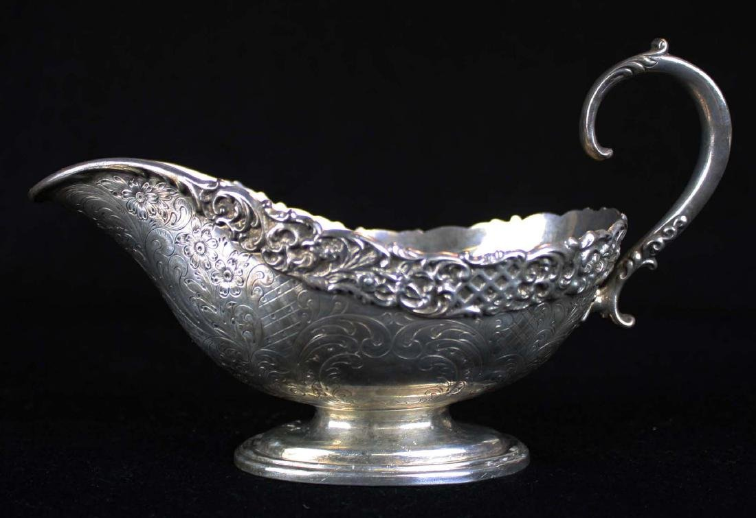 ornate late Victorian sterling silver  gravy boat with - 5