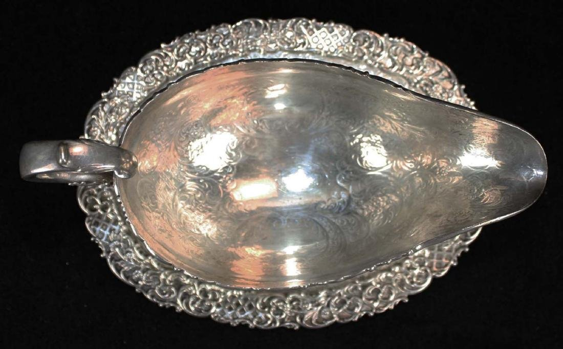 ornate late Victorian sterling silver  gravy boat with - 7