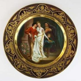 19th c. Royal Vienna handpainted cabinet portrait plate