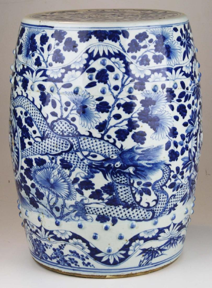 19th c Chinese blue and white porcelain garden seat.