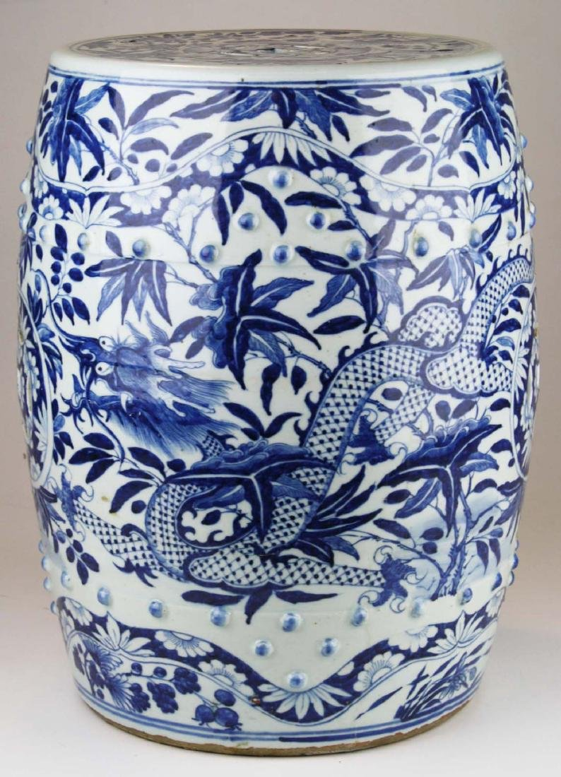 19th c Chinese blue and white porcelain garden seat. - 3