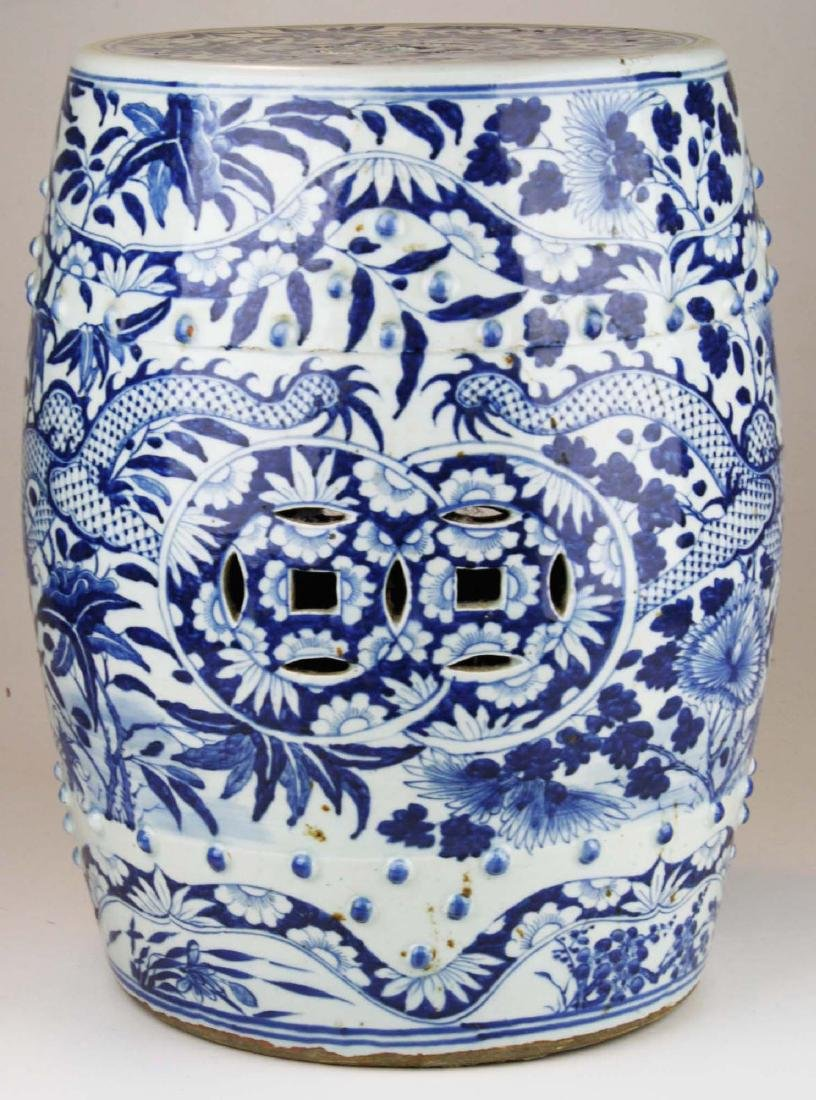 19th c Chinese blue and white porcelain garden seat. - 4