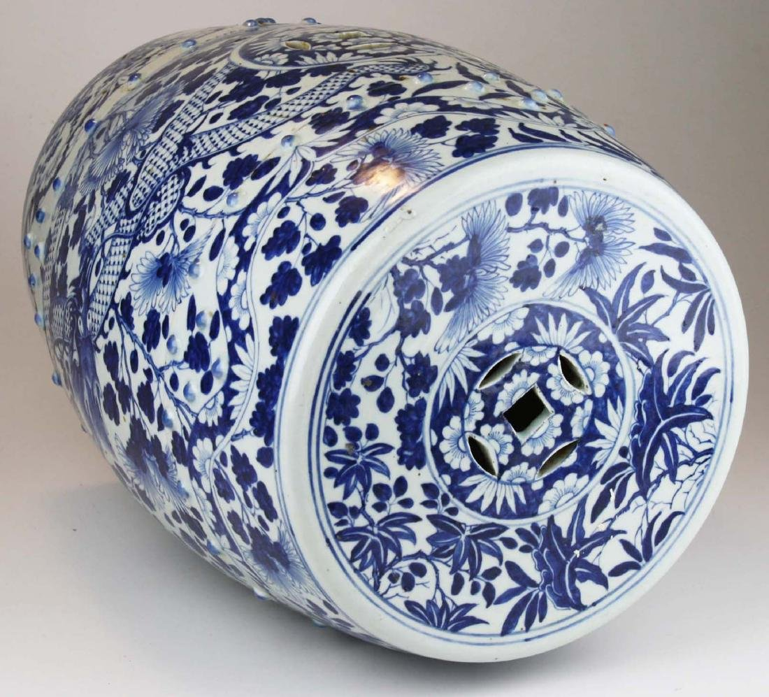 19th c Chinese blue and white porcelain garden seat. - 5