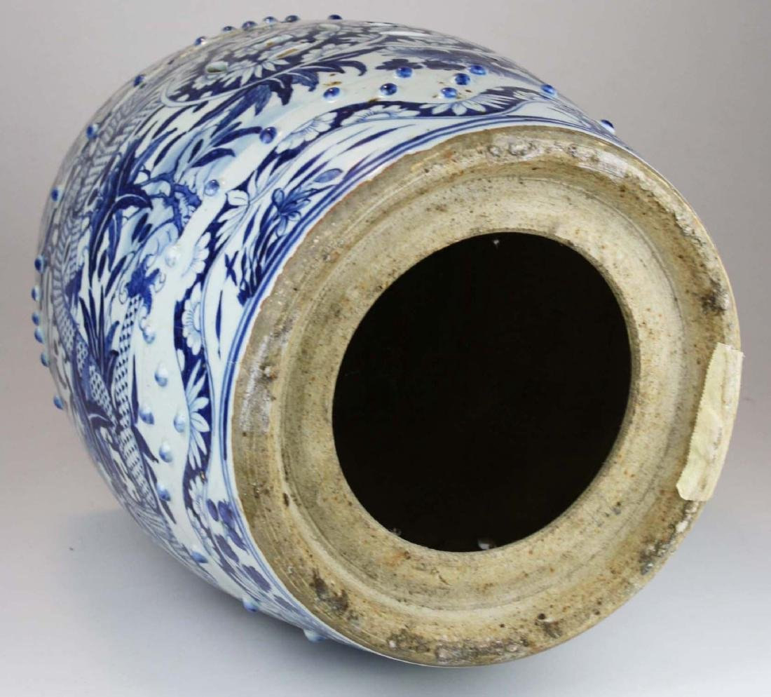 19th c Chinese blue and white porcelain garden seat. - 6