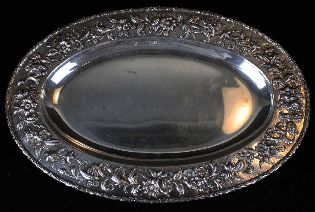 S. Kirk & Son sterling silver oval serving platter with - 2