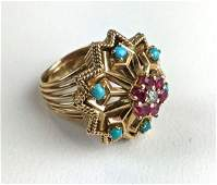 Ladies 18 k yellow gold diamond ruby and Turquoise