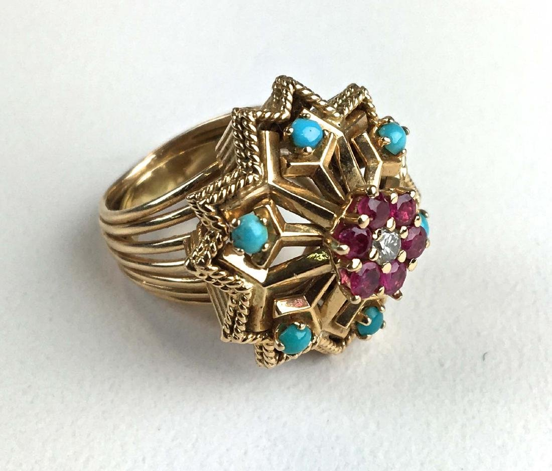 Ladies 18 k yellow gold diamond, ruby, and Turquoise