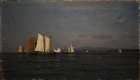 John Ross Key (american 1837-1920) Sailboats On Lake