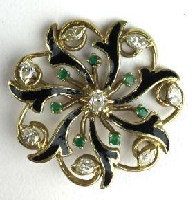 Ca. 1950 yellow gold floral pin wheel design diamond,