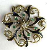 Ca 1950 yellow gold floral pin wheel design diamond