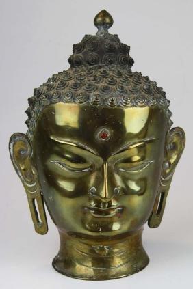 Cast bronze Hindu bust deity with red bindi stone type