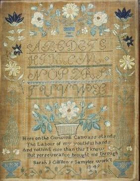 1849 needlework sampler worked by Sarah J Gilfilen