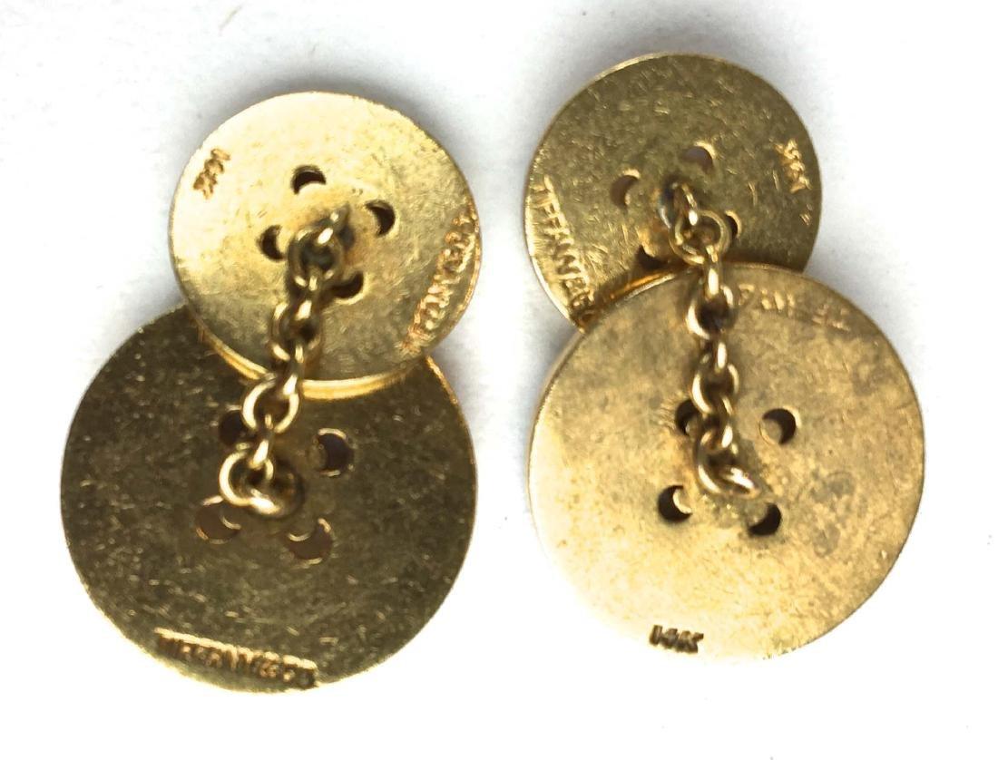 Tiffany men's 14k yellow gold button design cuff links. - 2