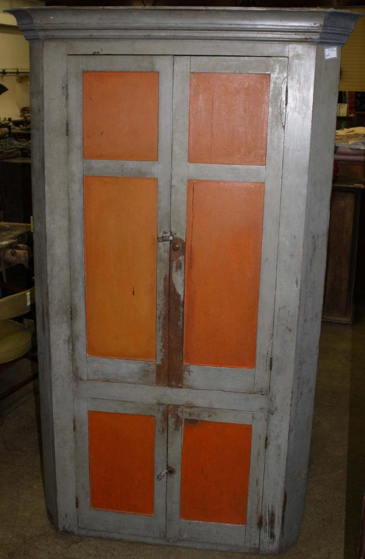 Early 19th c painted corner cupboard
