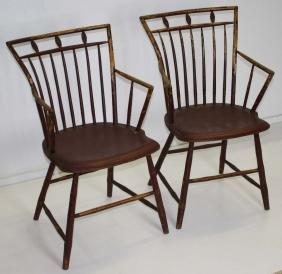 Pair of birdcage Windsor armchairs
