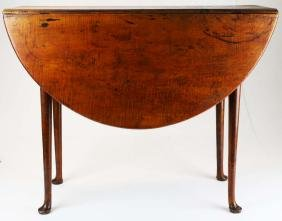 18th c Queen Anne tiger maple oval drop leaf table