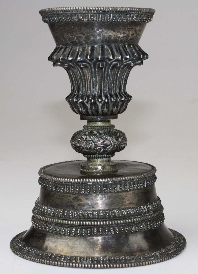 fine 18th or 19th c. Tibetan or Nepalese  silver butter - 4