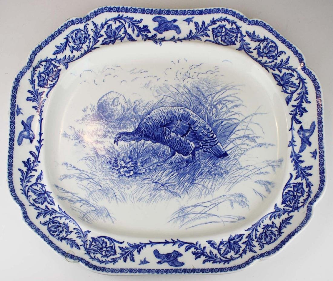 Massive Royal Cauldon England flow blue turkey platter