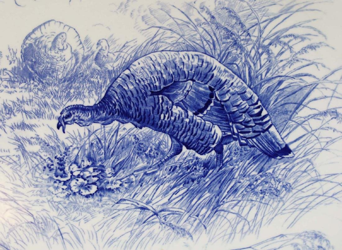 Massive Royal Cauldon England flow blue turkey platter - 2