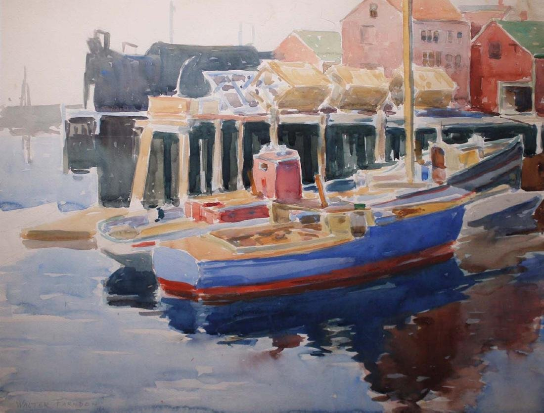Walter Farndon (American 1876-1964)  Ships in harbor