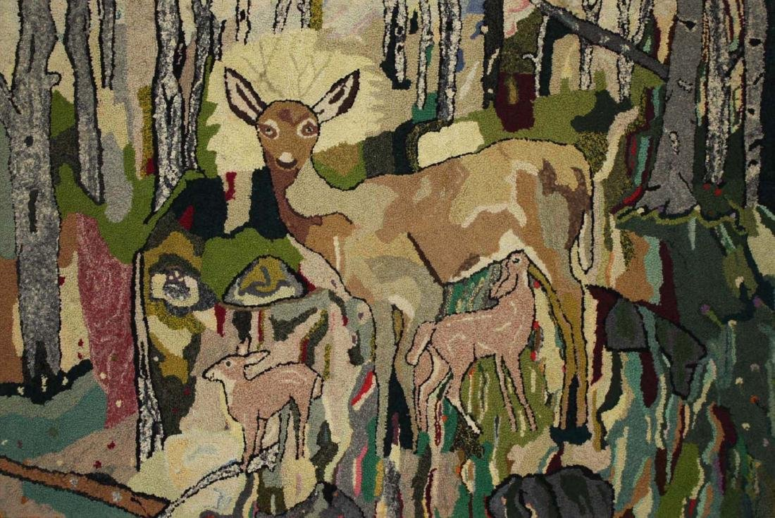 early 20th c hooked rug with doe & fawns