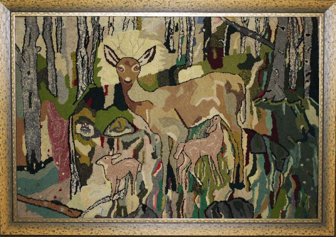 early 20th c hooked rug with doe & fawns - 2