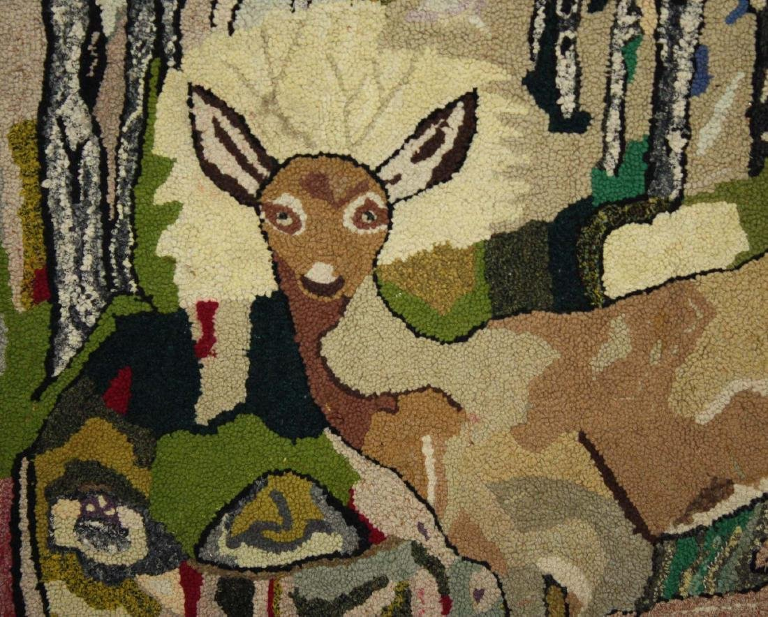 early 20th c hooked rug with doe & fawns - 3