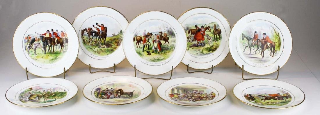 9 Wedgwood porcelain plates with English Equestrian