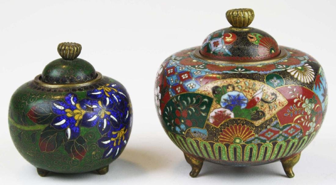 Two fine 19th c Japanese cloisonne footed covered pots.