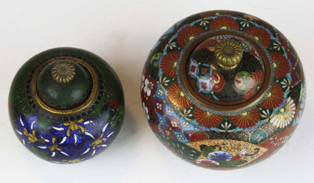 Two fine 19th c Japanese cloisonne footed covered pots. - 4