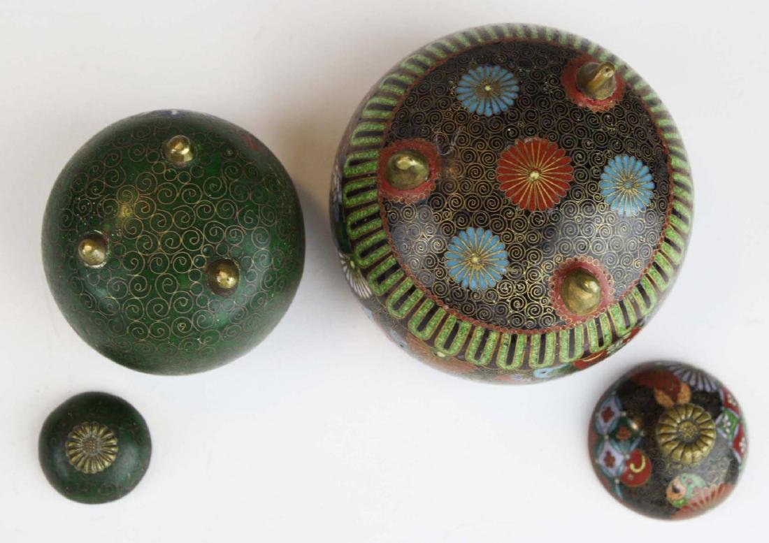 Two fine 19th c Japanese cloisonne footed covered pots. - 5