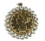 U S 5 gold coin 1900 in dimaond pendant frame
