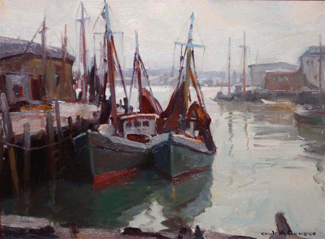 Emile Gruppe (American 1896-1978) Ships in harbor
