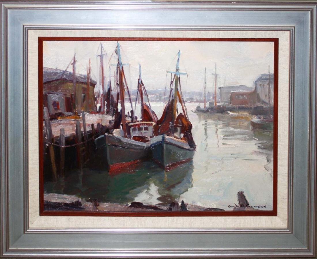 Emile Gruppe (American 1896-1978) Ships in harbor - 2