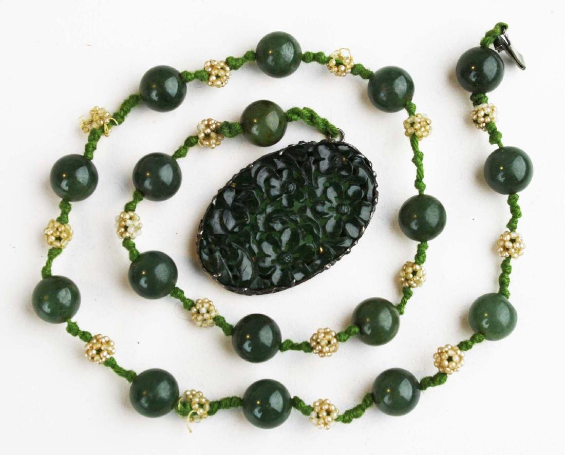 Ca. 1900 Chinese jade necklace and pendant.
