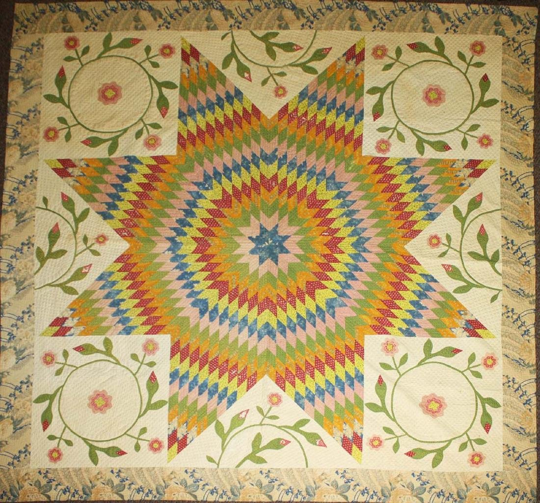 mid 19th c pieced quilt with appliqued panels