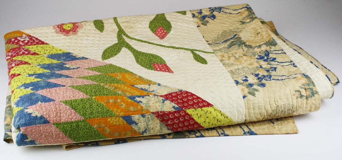 mid 19th c pieced quilt with appliqued panels - 2