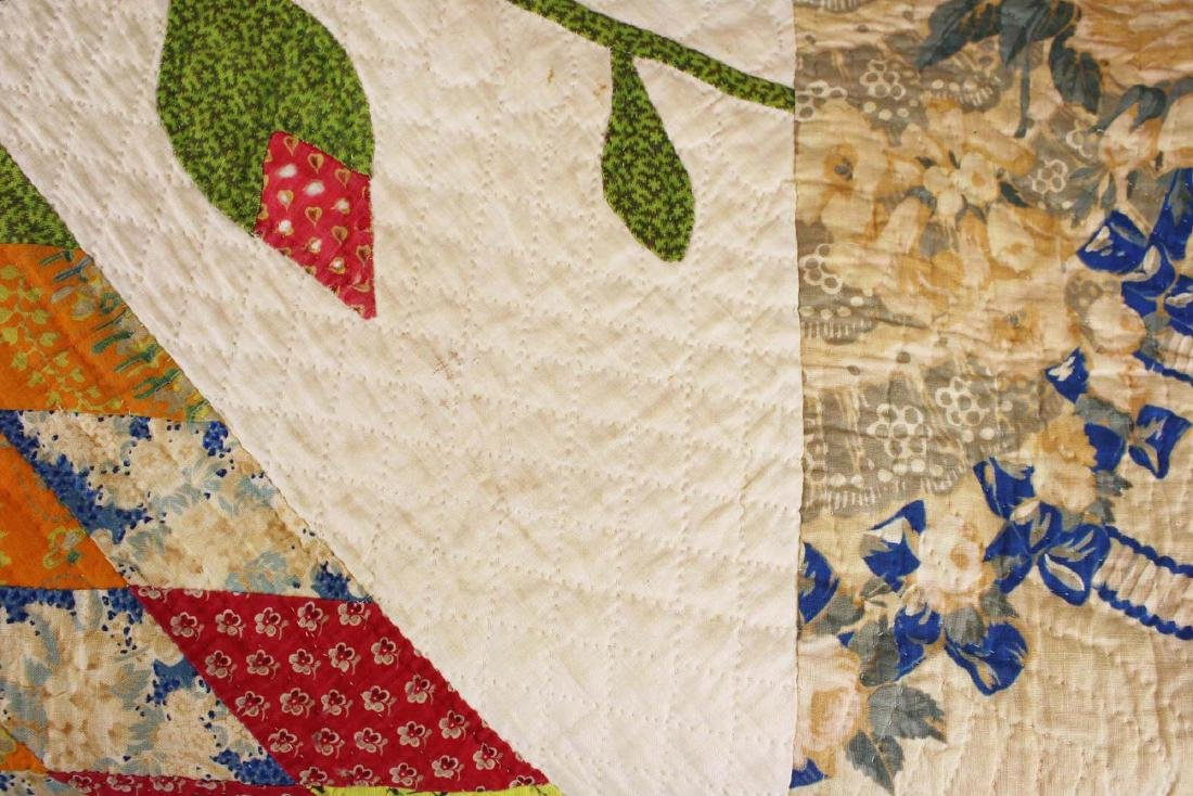 mid 19th c pieced quilt with appliqued panels - 3