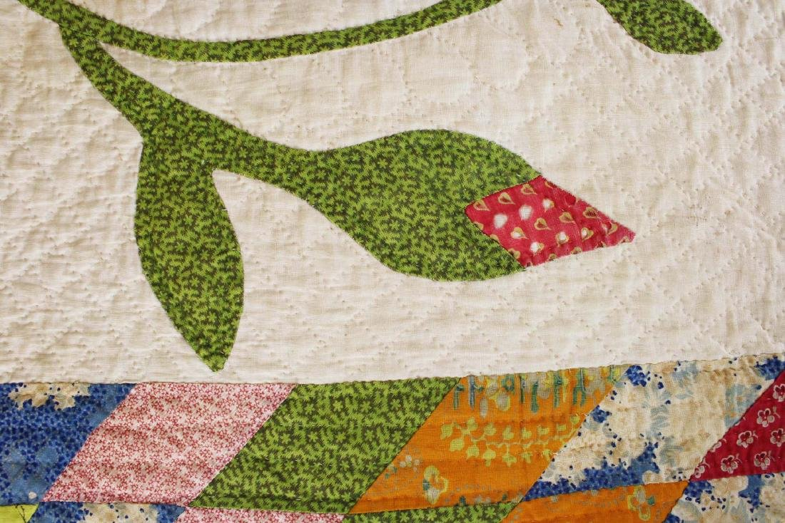 mid 19th c pieced quilt with appliqued panels - 4