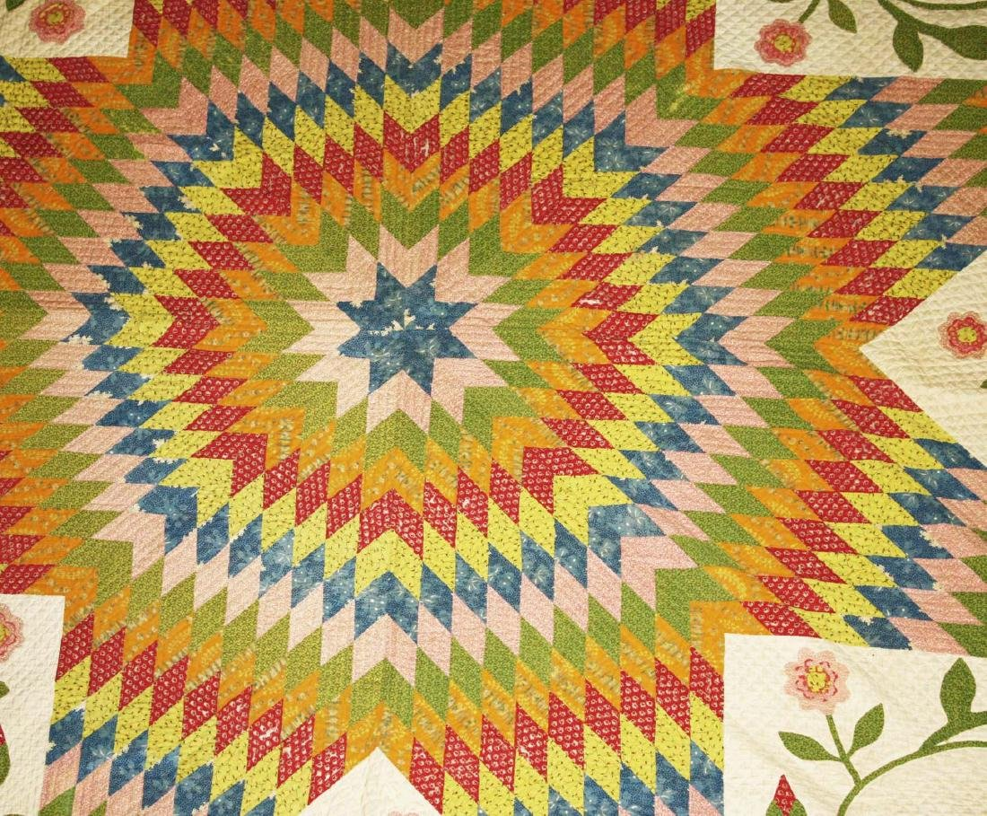 mid 19th c pieced quilt with appliqued panels - 5