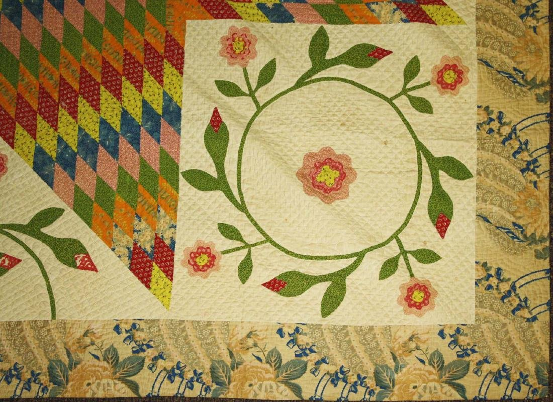 mid 19th c pieced quilt with appliqued panels - 6
