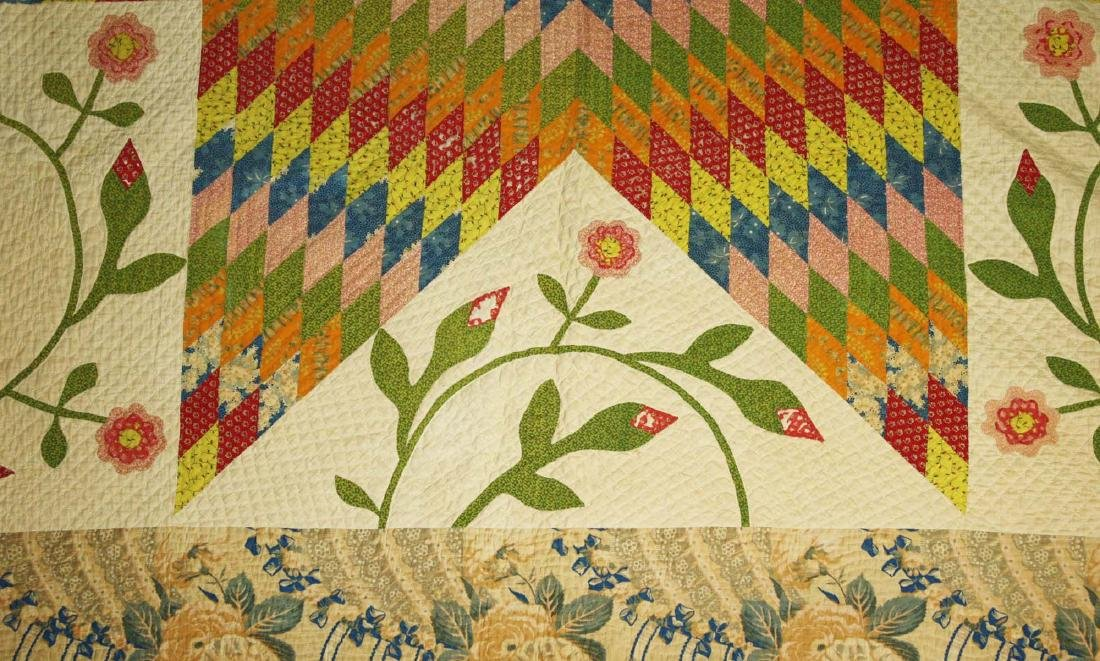 mid 19th c pieced quilt with appliqued panels - 7