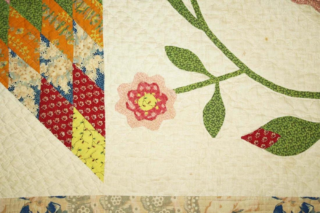 mid 19th c pieced quilt with appliqued panels - 8