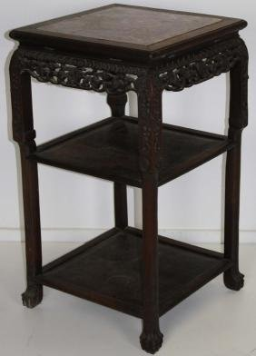 Chinese marble top three tier stand