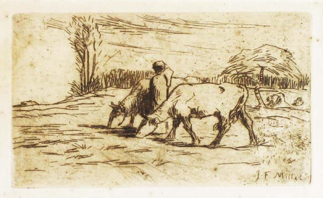 Jean Francois Millet (French 1814-1875) Two Cows