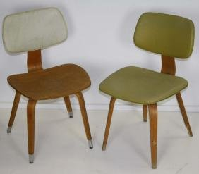 Two Thonet maple laminate side chairs