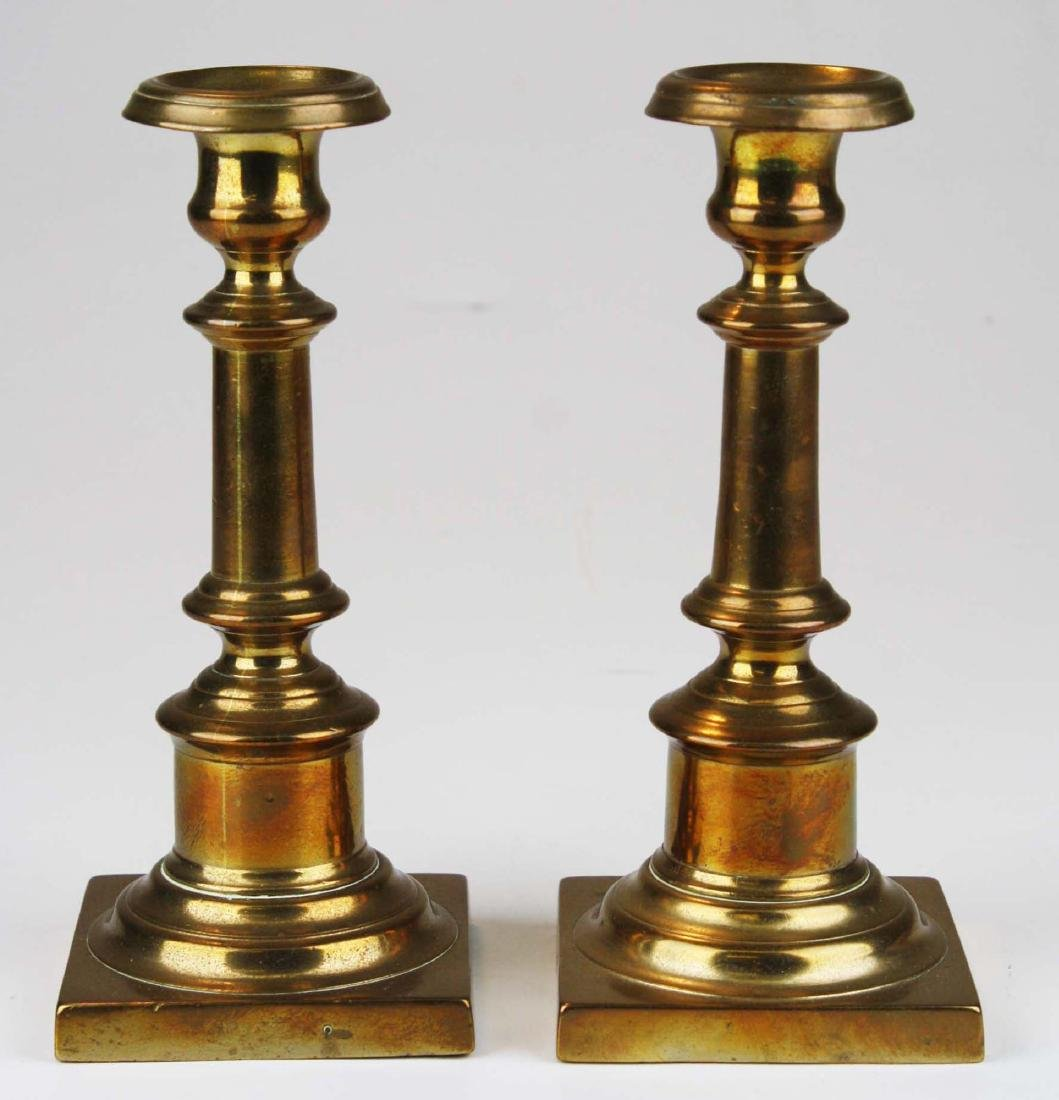 18th c bell metal brass signed candlesticks